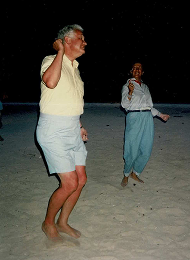 Ron Nelson and Renee dancing on a West Indies Beach, 1992