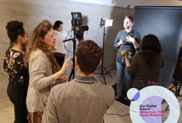 Photo of participants being videotaped at the Montreal Thinkathon